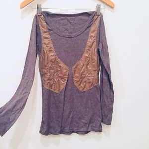 Anthropologie Tops - Anthropologie Leather Vested Long Sleeve S